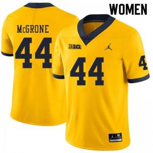 Michigan Wolverines #44 Cameron McGrone Women's Yellow College Football Jersey 135639-397