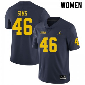 Michigan Wolverines #46 Myles Sims Women's Navy College Football Jersey 397512-760