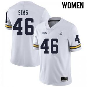 Michigan Wolverines #46 Myles Sims Women's White College Football Jersey 154329-460