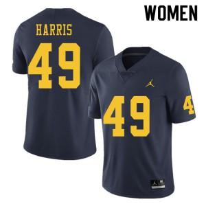 Michigan Wolverines #49 Keshaun Harris Women's Navy College Football Jersey 217351-475
