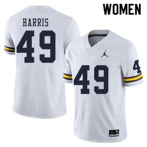 Michigan Wolverines #49 Keshaun Harris Women's White College Football Jersey 597898-615