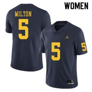 Michigan Wolverines #5 Joe Milton Women's Navy College Football Jersey 970119-577