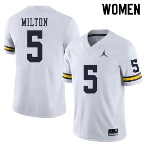Michigan Wolverines #5 Joe Milton Women's White College Football Jersey 869734-456