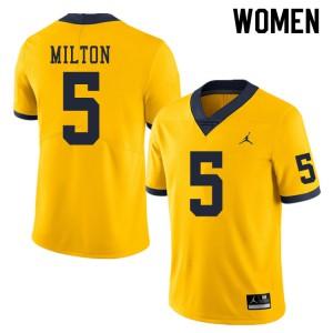 Michigan Wolverines #5 Joe Milton Women's Yellow College Football Jersey 433521-726