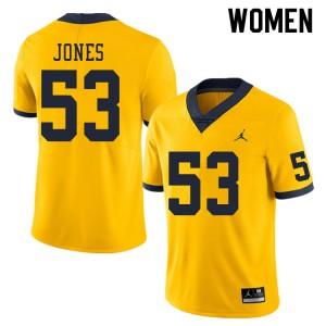 Michigan Wolverines #53 Trente Jones Women's Yellow College Football Jersey 295817-265