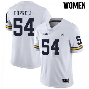 Michigan Wolverines #54 Kraig Correll Women's White College Football Jersey 688127-259
