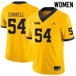 Michigan Wolverines #54 Kraig Correll Women's Yellow College Football Jersey 882516-769