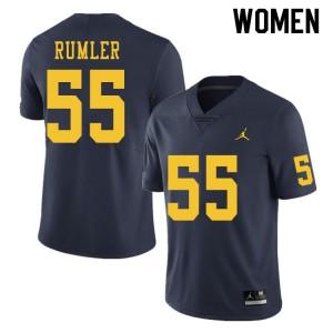 Michigan Wolverines #55 Nolan Rumler Women's Navy College Football Jersey 484929-574