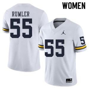 Michigan Wolverines #55 Nolan Rumler Women's White College Football Jersey 794852-805
