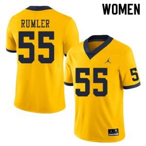 Michigan Wolverines #55 Nolan Rumler Women's Yellow College Football Jersey 893032-623