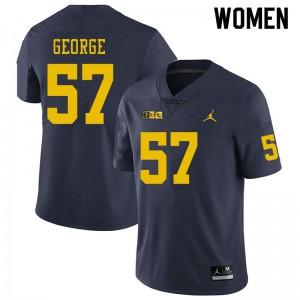 Michigan Wolverines #57 Joey George Women's Navy College Football Jersey 658224-350
