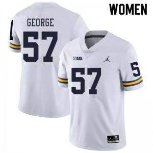 Michigan Wolverines #57 Joey George Women's White College Football Jersey 501417-182