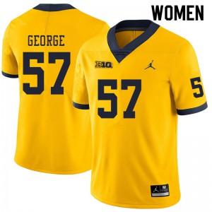Michigan Wolverines #57 Joey George Women's Yellow College Football Jersey 237299-341