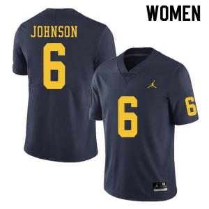 Michigan Wolverines #6 Cornelius Johnson Women's Navy College Football Jersey 711712-522