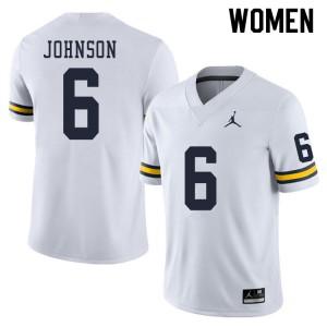 Michigan Wolverines #6 Cornelius Johnson Women's White College Football Jersey 429508-606
