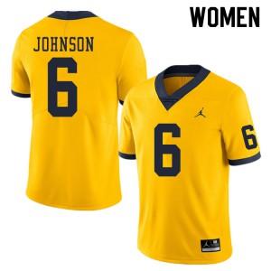 Michigan Wolverines #6 Cornelius Johnson Women's Yellow College Football Jersey 795391-252