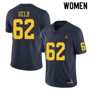 Michigan Wolverines #62 Mica Gelb Women's Navy College Football Jersey 270187-680