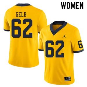 Michigan Wolverines #62 Mica Gelb Women's Yellow College Football Jersey 381127-676