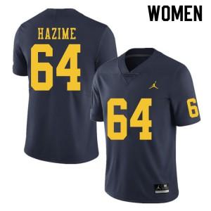 Michigan Wolverines #64 Mahdi Hazime Women's Navy College Football Jersey 944321-705