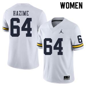 Michigan Wolverines #64 Mahdi Hazime Women's White College Football Jersey 972719-810