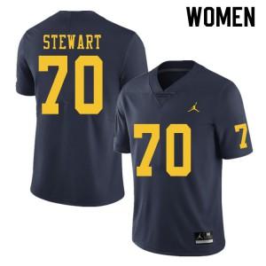Michigan Wolverines #70 Jack Stewart Women's Navy College Football Jersey 626570-117