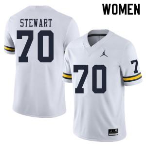Michigan Wolverines #70 Jack Stewart Women's White College Football Jersey 231468-733