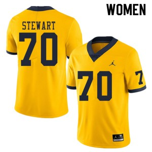 Michigan Wolverines #70 Jack Stewart Women's Yellow College Football Jersey 224235-499