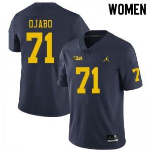 Michigan Wolverines #71 David Ojabo Women's Navy College Football Jersey 362256-483