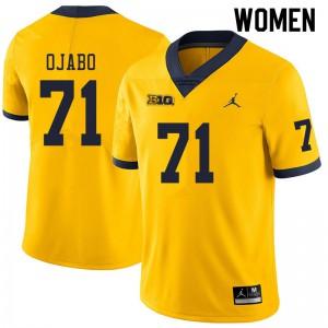 Michigan Wolverines #71 David Ojabo Women's Yellow College Football Jersey 612323-792