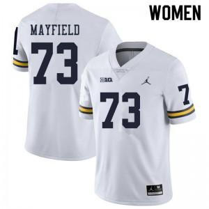Michigan Wolverines #73 Jalen Mayfield Women's White College Football Jersey 909533-775