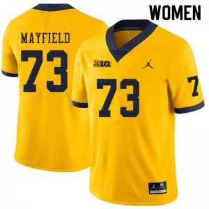 Michigan Wolverines #73 Jalen Mayfield Women's Yellow College Football Jersey 855755-717