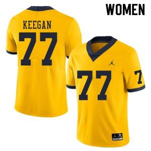 Michigan Wolverines #77 Trevor Keegan Women's Yellow College Football Jersey 302361-502