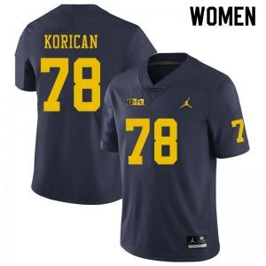 Michigan Wolverines #78 Griffin Korican Women's Navy College Football Jersey 184127-932