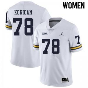 Michigan Wolverines #78 Griffin Korican Women's White College Football Jersey 667415-864