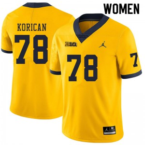 Michigan Wolverines #78 Griffin Korican Women's Yellow College Football Jersey 525672-451