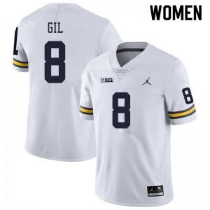 Michigan Wolverines #8 Devin Gil Women's White College Football Jersey 176905-306