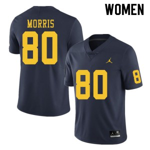 Michigan Wolverines #80 Mike Morris Women's Navy College Football Jersey 830578-552
