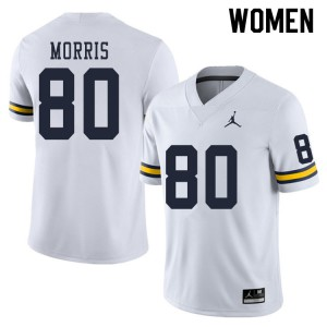 Michigan Wolverines #80 Mike Morris Women's White College Football Jersey 453811-629