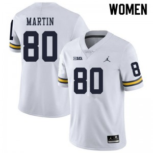 Michigan Wolverines #80 Oliver Martin Women's White College Football Jersey 763725-290