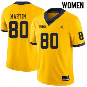 Michigan Wolverines #80 Oliver Martin Women's Yellow College Football Jersey 914133-296