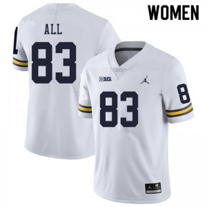 Michigan Wolverines #83 Erick All Women's White College Football Jersey 351177-780