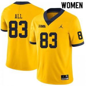 Michigan Wolverines #83 Erick All Women's Yellow College Football Jersey 833509-629