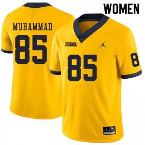 Michigan Wolverines #85 Mustapha Muhammad Women's Yellow College Football Jersey 481308-797