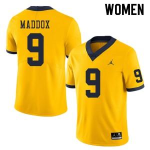 Michigan Wolverines #9 Andy Maddox Women's Yellow College Football Jersey 654735-699