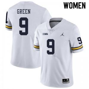 Michigan Wolverines #9 Gemon Green Women's White College Football Jersey 388702-952