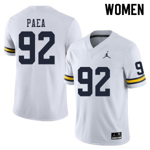 Michigan Wolverines #92 Phillip Paea Women's White College Football Jersey 877805-558