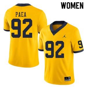 Michigan Wolverines #92 Phillip Paea Women's Yellow College Football Jersey 993480-730