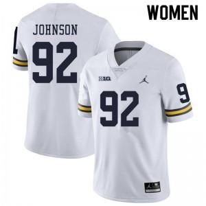 Michigan Wolverines #92 Ron Johnson Women's White College Football Jersey 572817-910