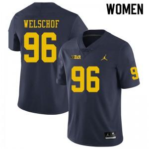 Michigan Wolverines #96 Julius Welschof Women's Navy College Football Jersey 285499-748