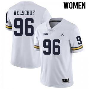Michigan Wolverines #96 Julius Welschof Women's White College Football Jersey 355382-440
